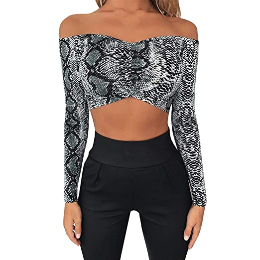 7cceb57e03f3f2 Image Unavailable. Image not available for. Color  Fashion Women s Sexy  Snakeskin Print Off Shoulder Long Sleeve Front Chest Fold Tanks Party Club  Crop