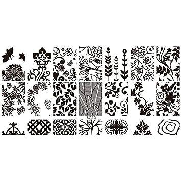 Amazon Com Leaves Designs Nail At Template Stamping Plates Nail
