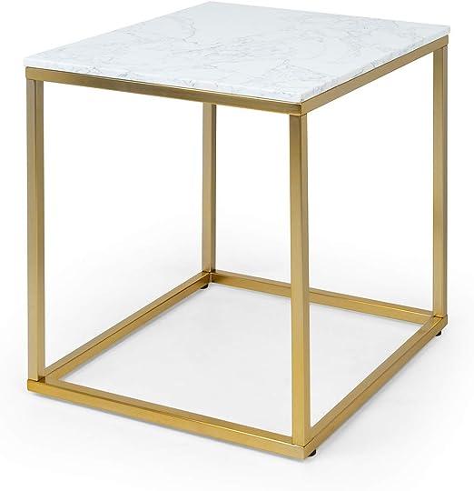 Besoa White Pearl I Mesa para el sillón - Mesa Auxiliar, 50 x 50 x ...