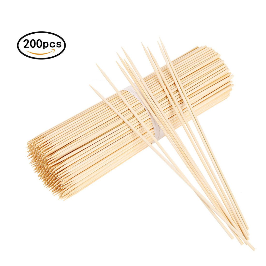 ZERMU Bamboo Skewers - 3mm Thick 12 Inch Long Heavy Duty Marshmallow Roasting Sticks, Roaster Barbecue Sticks, Hot Dog Smores Skewers for Camping, Party, Kebab (200 Pcs)
