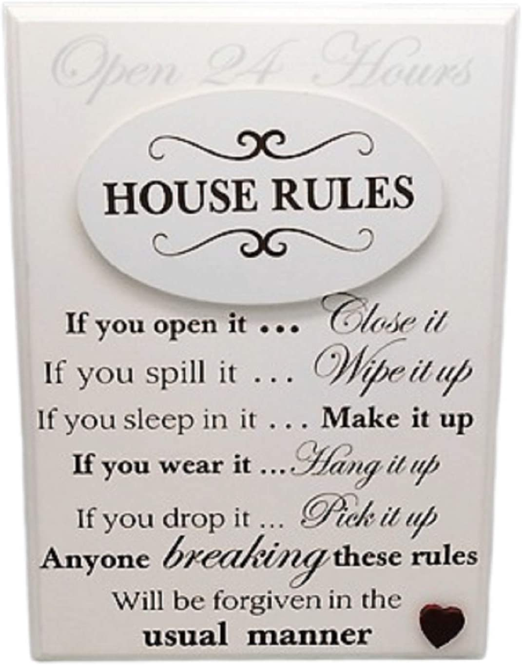 House Rules Sign Plaque Freestanding Or Wall Amazon Co Uk Kitchen Home
