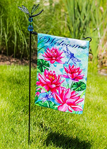 Evergreen Garden Flag Stand - Jeweled Dragonfly by Evergreen