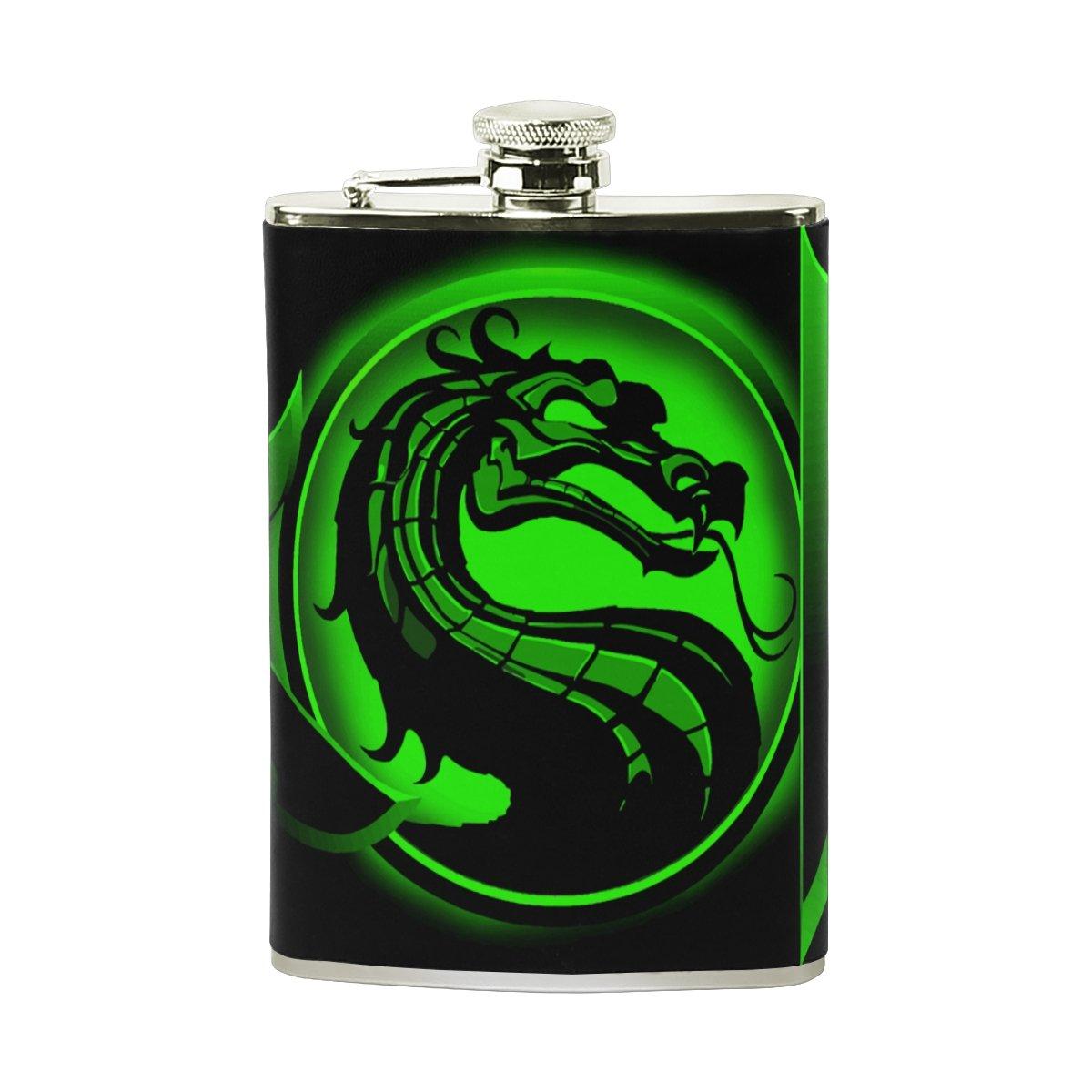Dragon Leather Stainless Steel Alcohol Whiskey Liquor Wine Pot Flagon Hip Flask Portable Pocket Bottle - 8 oz
