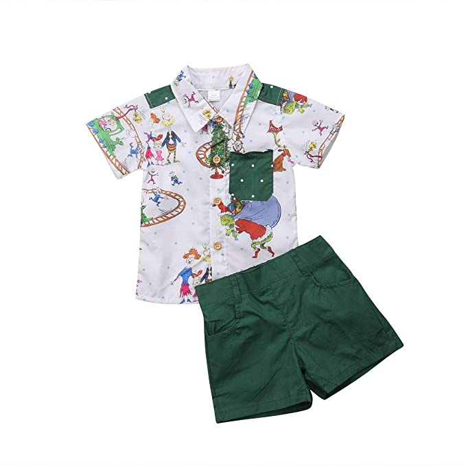 f5ef57851830 Amazon.com  2PCS Toddler Kids Baby Boys New Year Outfits Short ...