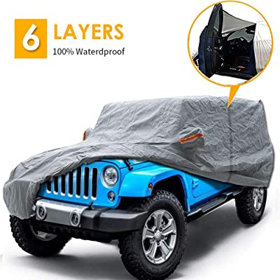 "Big Ant Car Cover for Jeep Wrangler CJ,YJ, TJ & JK 4 Door All Weather Protection Waterproof SUV Cover Customer Fit for Jeep Wrangler with Driver Door Zipper up to 190"" L,Gray: Automotive"