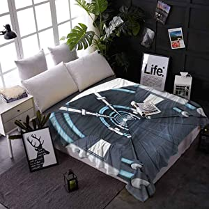 Fuzzy Blanket Outer Space Super Soft Warm Comfy for Couch Bed Sofa Fantastic Inner View of Rocket Structure Cyber Hallway Trip to The Dark Matter 70 x 90 Inches Gray Blue