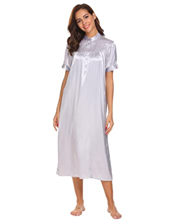 Adidome Women Sleepwear Mandarin Collar Short Sleeve Pleated Front Loose  Satin Nightgown 6d99b9a7c