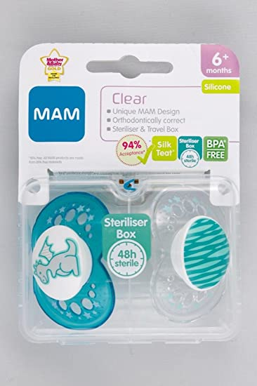 Amazon.com: MAM chupete 2 Pack 6 M + (Dragón) transparente: Baby