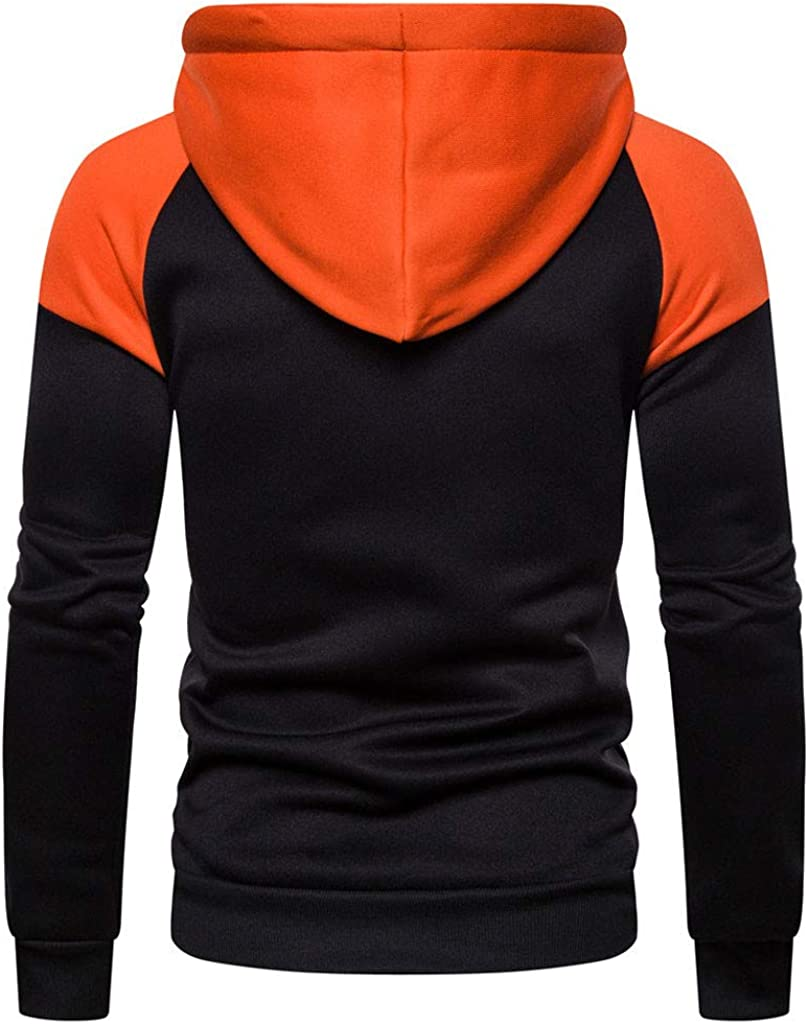 TIANRUN Mens Hooded Sweatshirts Patchwork Long Sleeve Pullover Sports Outwear