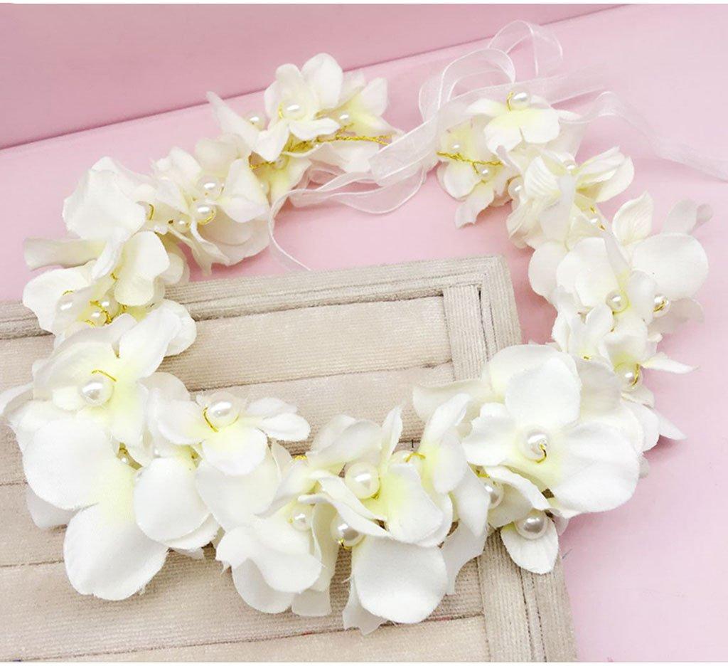 Wreath Flower, Headband Flower Garland Handmade Wedding Bride Party Ribbon Headband Wristband Hairband Pink/White/Purple/Green (Color : F)