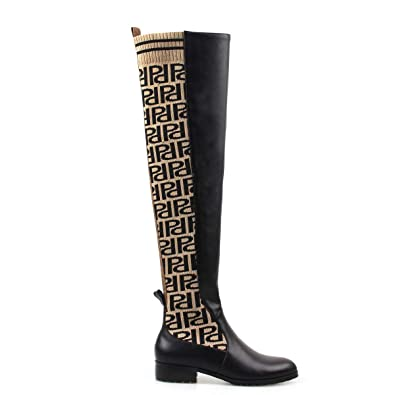 3078e6ffd67 perixir Knee High Boots Shoes Printed PU Knitted Thigh High Boots Flat  Women Shoes Pointed Toe