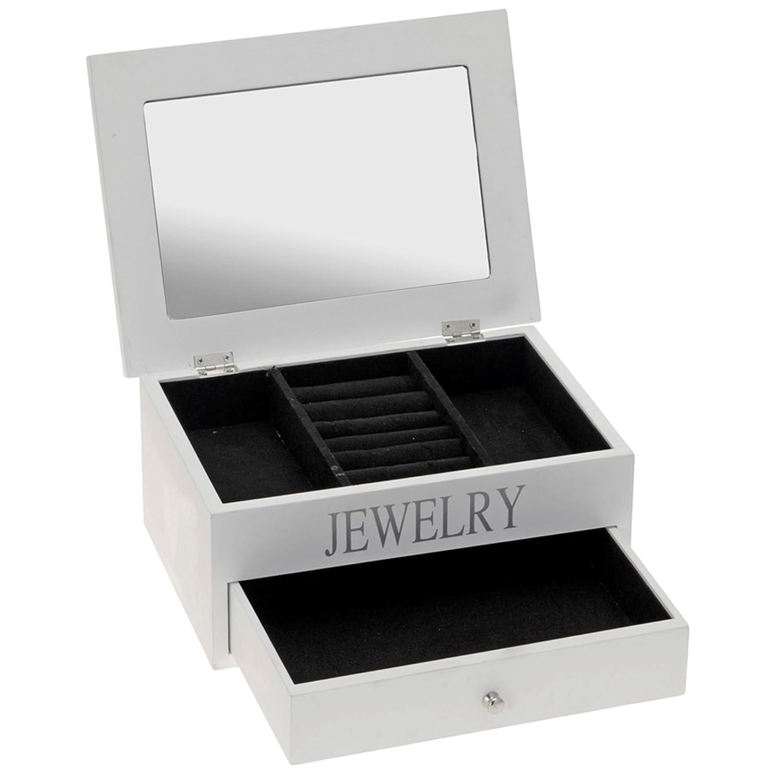 Scrigno portagioie in legno bianco del braccialetto della collana Storage organiser Gift con specchio