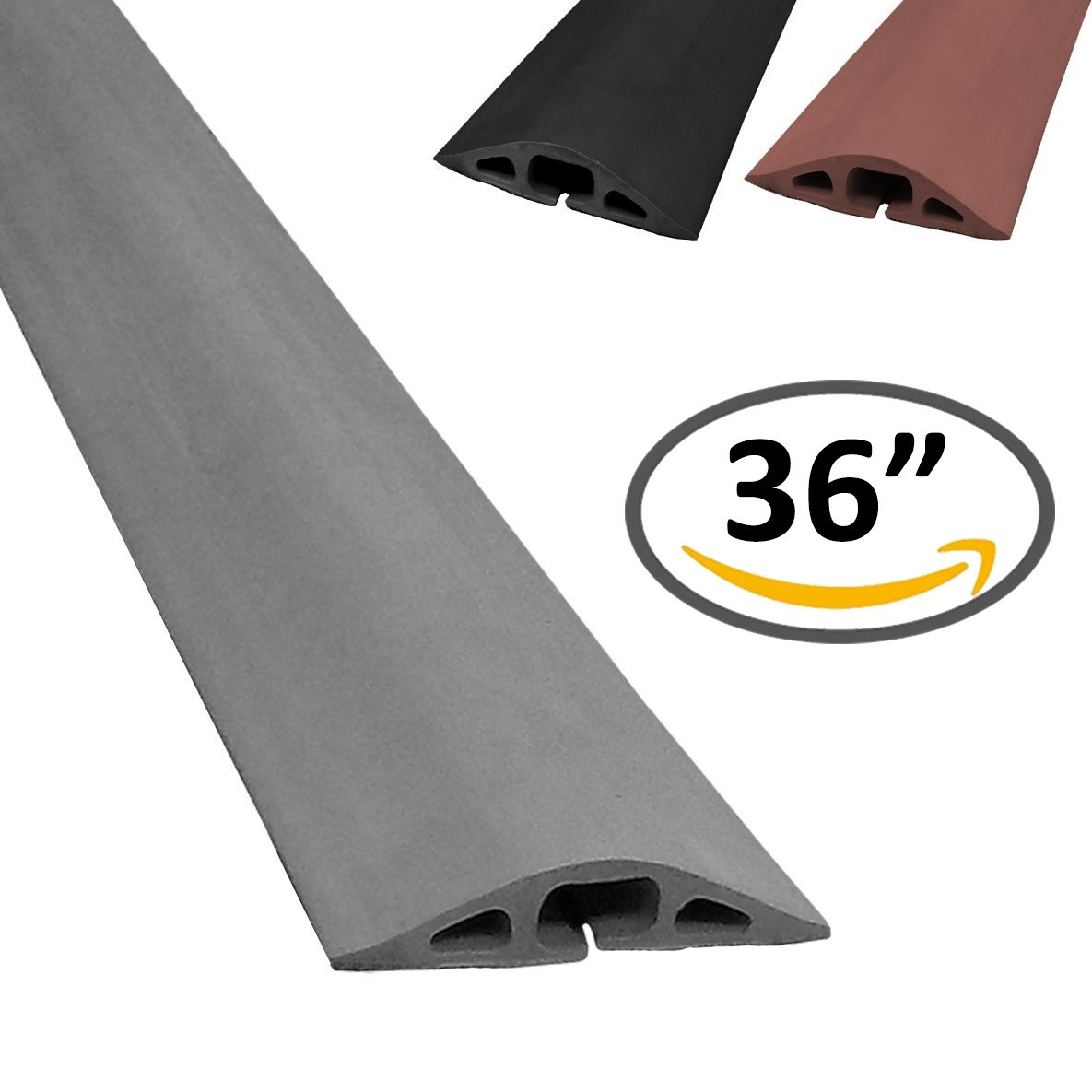 Color 5FT Length Brown Cable Protector D-2 Rubber Duct Cord Cover