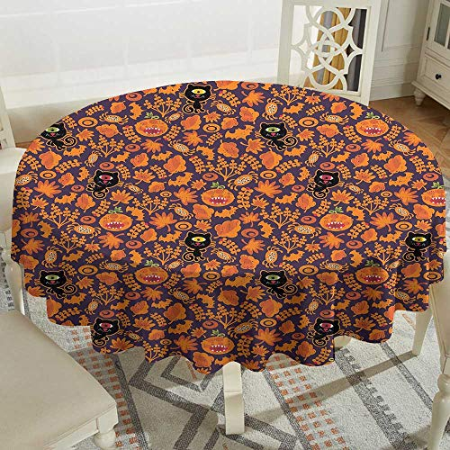 Flower Tablecloth 70 Inch Vintage Halloween,Halloween Themed Elements on a Purple Background Scary Mosters,Dark Purple Orange Great for,restauran & More for $<!--$51.20-->
