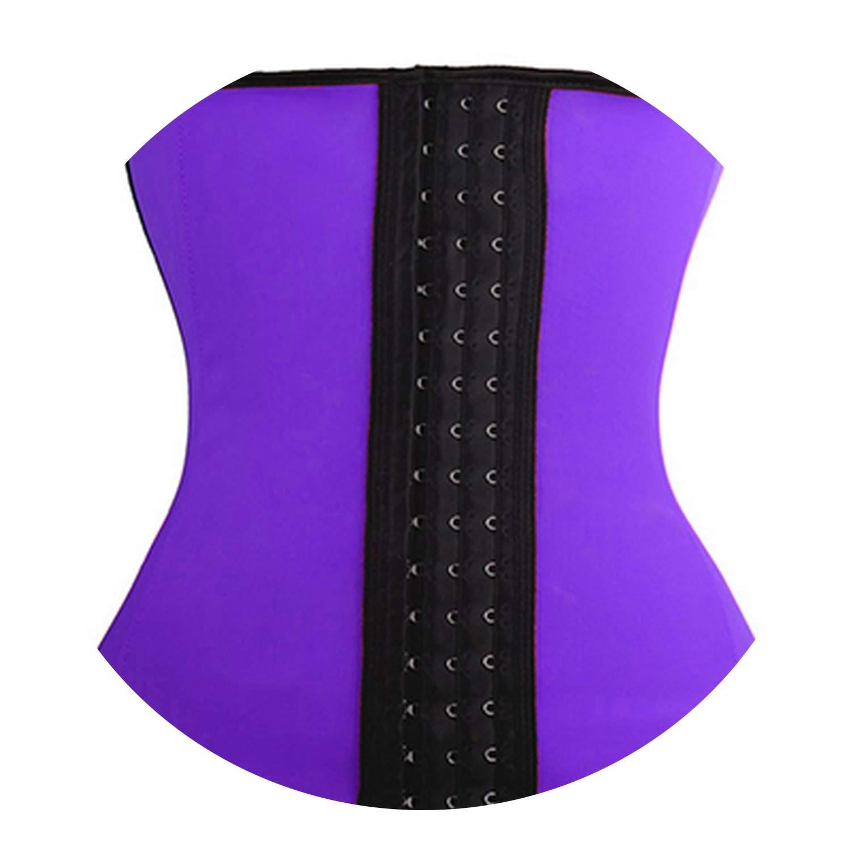 S-6XL Latex Waist Steel Boned Underwear Slimming Modeling Strap,Purple,L