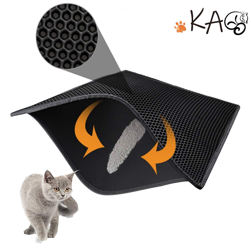 KAG Cat Litter Mat Litter Trapper Large Size 76 X 61 cm, Honeycomb Double-Layer Design Waterproof Urine Proof Material, Easy Clean Scatter Control (Black)