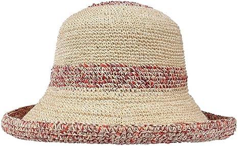 HLWAWA Viajes Sombrero del Verano de algodón y Lino Paja Cara pequeña de Paja de la sombrilla de Playa Sun de la Manera: Amazon.es: Deportes y aire libre