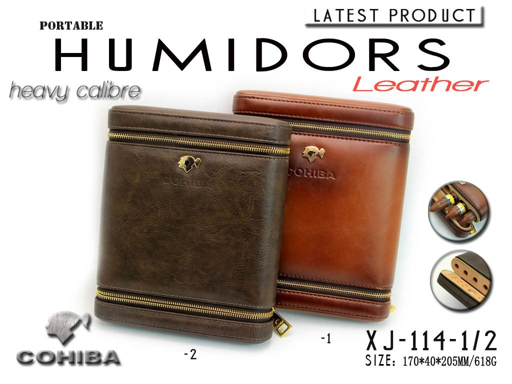 COHIBA Coffee Leather Cedar Lined 6 Tube Cigar Case Humidor W/ Humidifier (Grey)