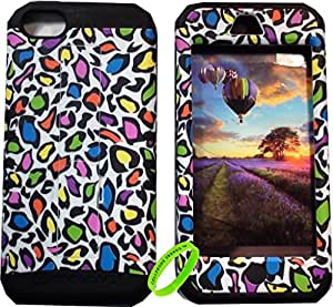 Cellphone Trendz High Impact Hybrid Rocker Case Cover for Apple iPhone 5C - Black Silicone with Hard Colorful Leopard Design