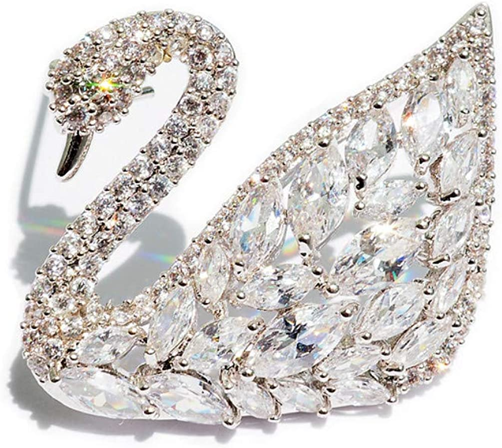 XDD/&GG Brooding Crystal Swan Brooch Temperament Fashion Pin Western Style Accessories