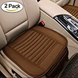 Breathable 2pc Car Interior Seat Covers Cushion Pad Mat for Auto Supplies Office Chair with PU Leather Bamboo Charcoal (Brown)