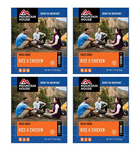 Serve Meals - Mountain House Rice & Chicken - Single Serve 4-Pack