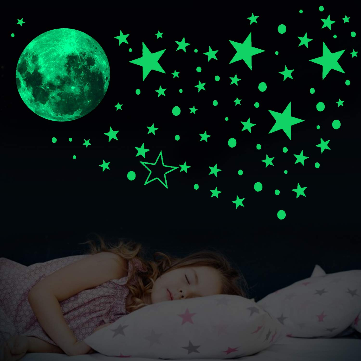 Hoiny Glow in The Dark Stars - Glow in The Dark Stickers 435 PCS Luminous Dots Stars and Moon Wall Stickers Glowing Stars for Celling for Children's Rooms,Baby,Children Bedroom