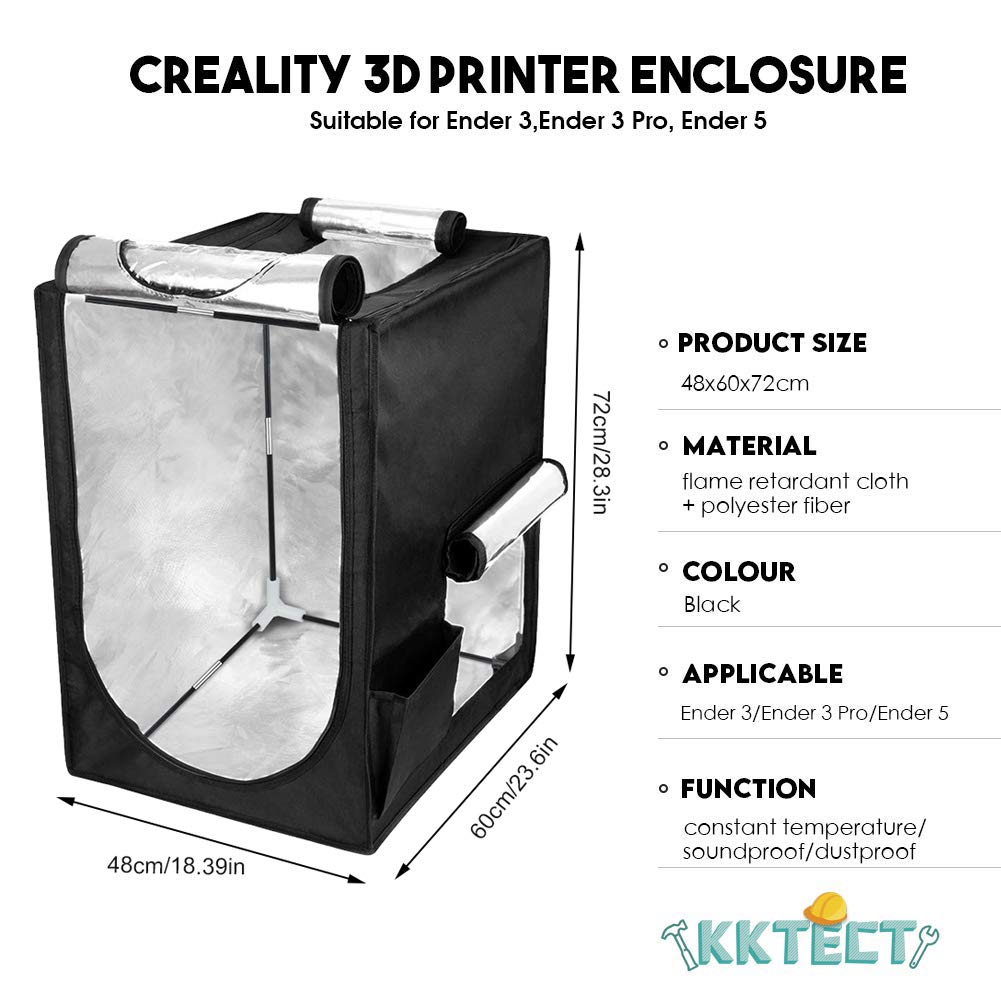 3D Printer Enclosure Tent Constant Temperature Protective Cover Waterproof Dustproof Fireproof Bag for Ender-3Ender-5CP-01CR20CR-5CR-3040Ender-1CR-100 Small