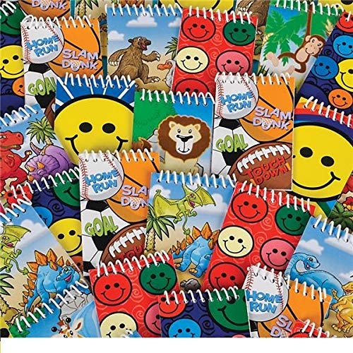 Mini Notebooks for kids, Animals, Sports, Happy Faces, Dinosaurs Prints for Party Favors Pack of 24