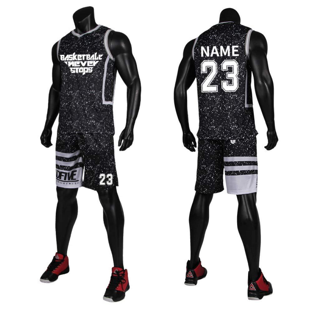 Athletische Basketball Jersey-Sets Männer Jugend Sleeveless Laufbekleidung Hemden V-Ausschnitt Sportwear Seitentaschen,A-XXXXXL