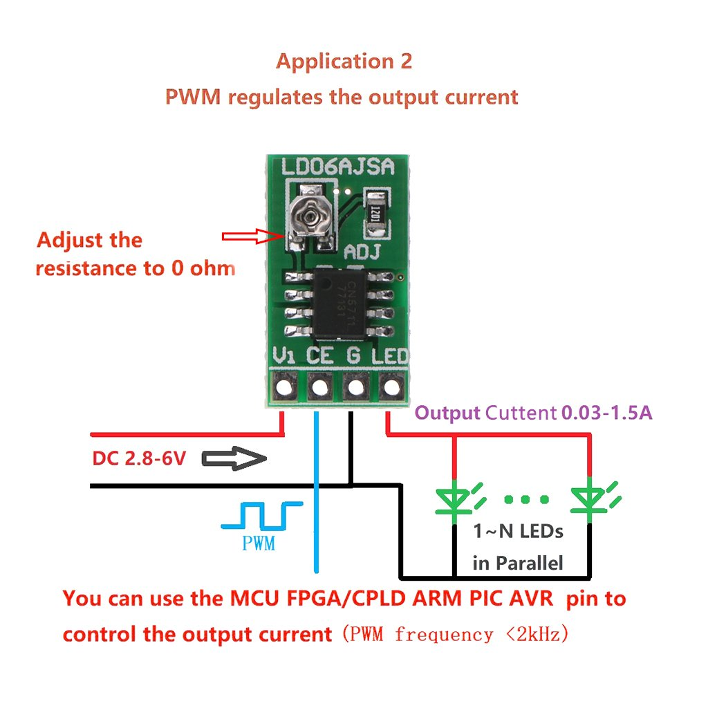Celan Quality DC 2.8-6V 30-1500MA 1.5A LED Driver PWM Control Board Module Adjustable Constant Current