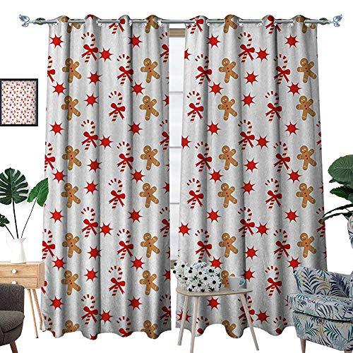 Gingerbread Man Patterned Drape for Glass Door Candy Cane with Bowties Red Star Figures Gingerbread Man Pattern Waterproof Window Curtain W120 x L96 Sand Brown Orange (Rooster Glass Candy)