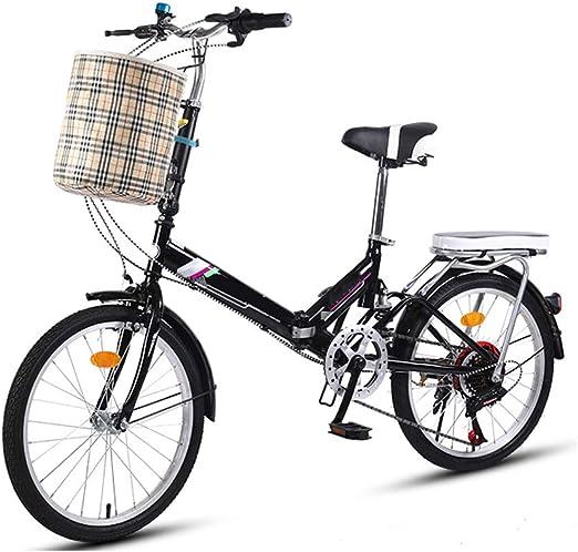 20 Pulgadas Bicicleta Plegable Bicicletas Mini For Mujer Compacto For Bici Urbana Plegable Del Viajero 7 Ciudad Velocidad Con La Parte Posterior Del Bastidor Y Los Campanas, Cesta (Color : Black) : Amazon.es: Hogar