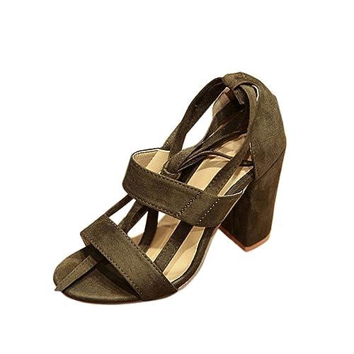 2bfcf5b22d Damen Sommer mit Absatz Mumuj Mode Blockabsatz Stiletto Sandalen Knöchel  Kätzchen Ferse Party Sandaletten Offene Spitze