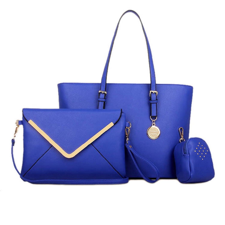 Blue Red(TM) Luxury Womens 3 Pcs Satchel Hobo Tote Handbag Bag Purse Set Blue