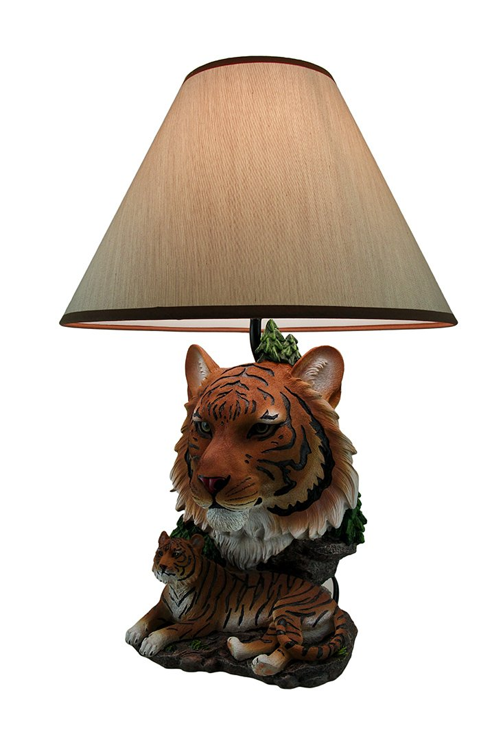 Night of the Tiger Sculptural Bengal Tiger Table Lamp w Fabric Shade 19 Inch