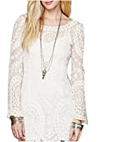 Venetia Morton Popular Women Dress Long Sleeve White Hollow-out Date Dresses Clothing Females Casual Floral Lace Solid Mini Dresses Party