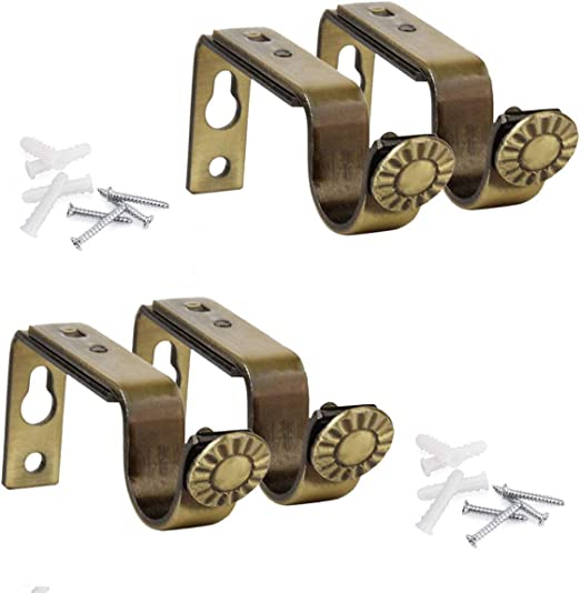 Adjustable Curtain Rod Brackets Bronze Color Set of 2