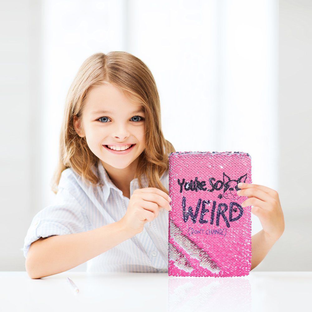 ICOSY Magic Sequin Notebook Reversible Sequin Journal Girls Journal Diary Mermaid Flip Sequins Notebook Sequin Diary for Kids Adults Rose Red Dog//Silver