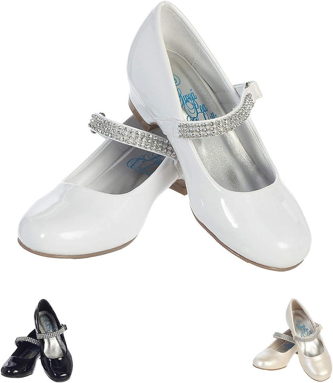 New Black White Ivory Silver Girls Dress Shoes Flats Rhinestones Wedding Kids