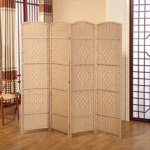 Hinged Room Dividers : Decorative freestanding hinged panel woven beige wood