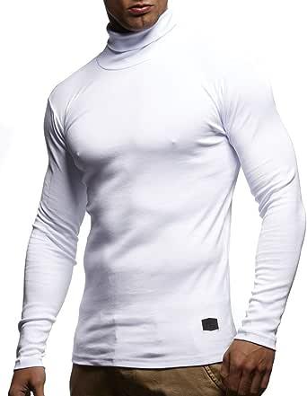 Leif Nelson Punto de los Hombres de Manga Larga Camiseta de Cuello Alto LN-WI