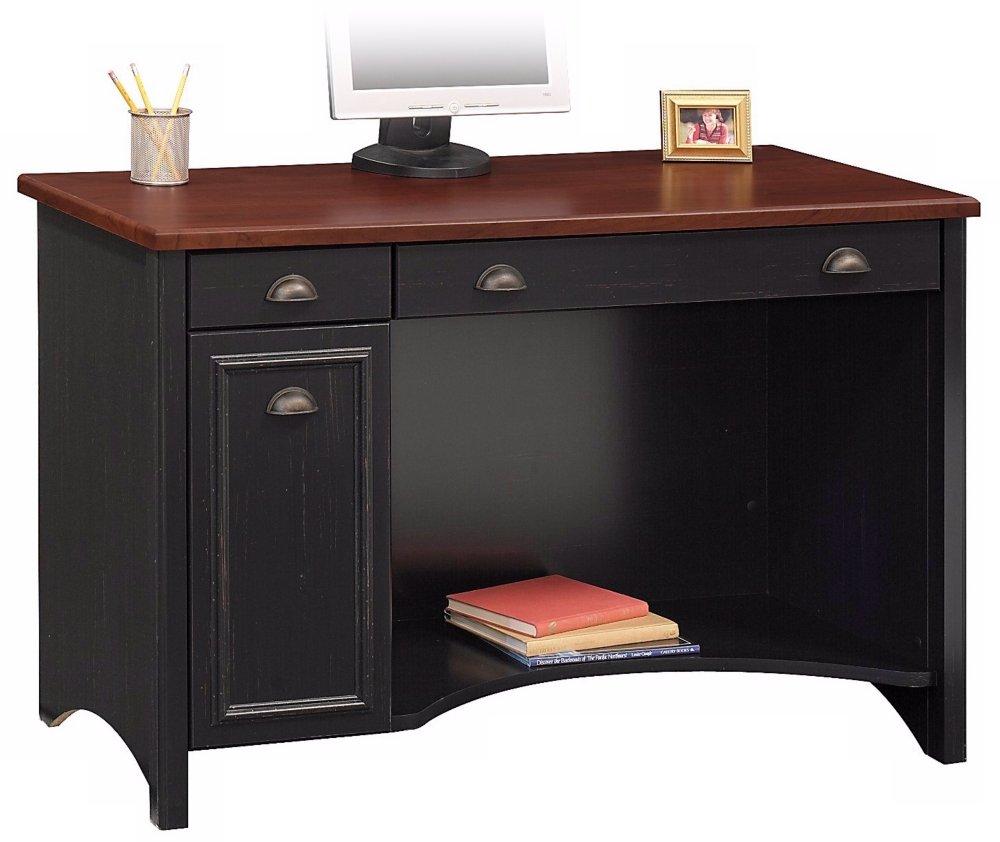 48W Bush Furniture Stanford Computer Desk Standard Delivery Antique Black//Hansen Cherry