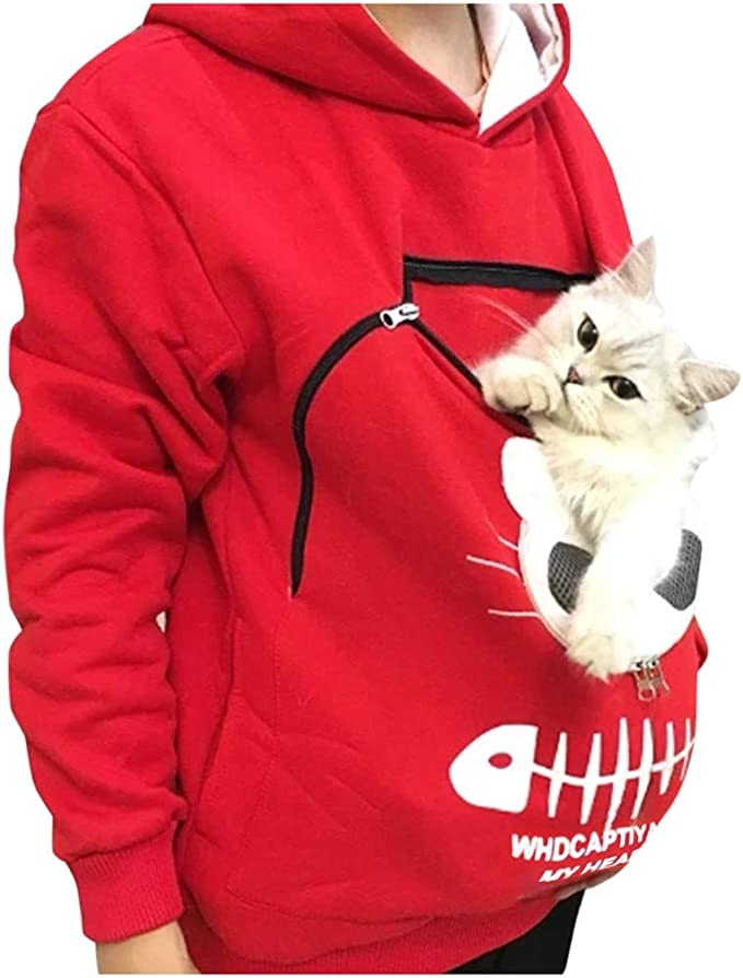 ZIPSAK Womens Hoodie Sweatshirt Long Sleeve Animal Carry Cat Pouch Hood Top Pullover Hooded