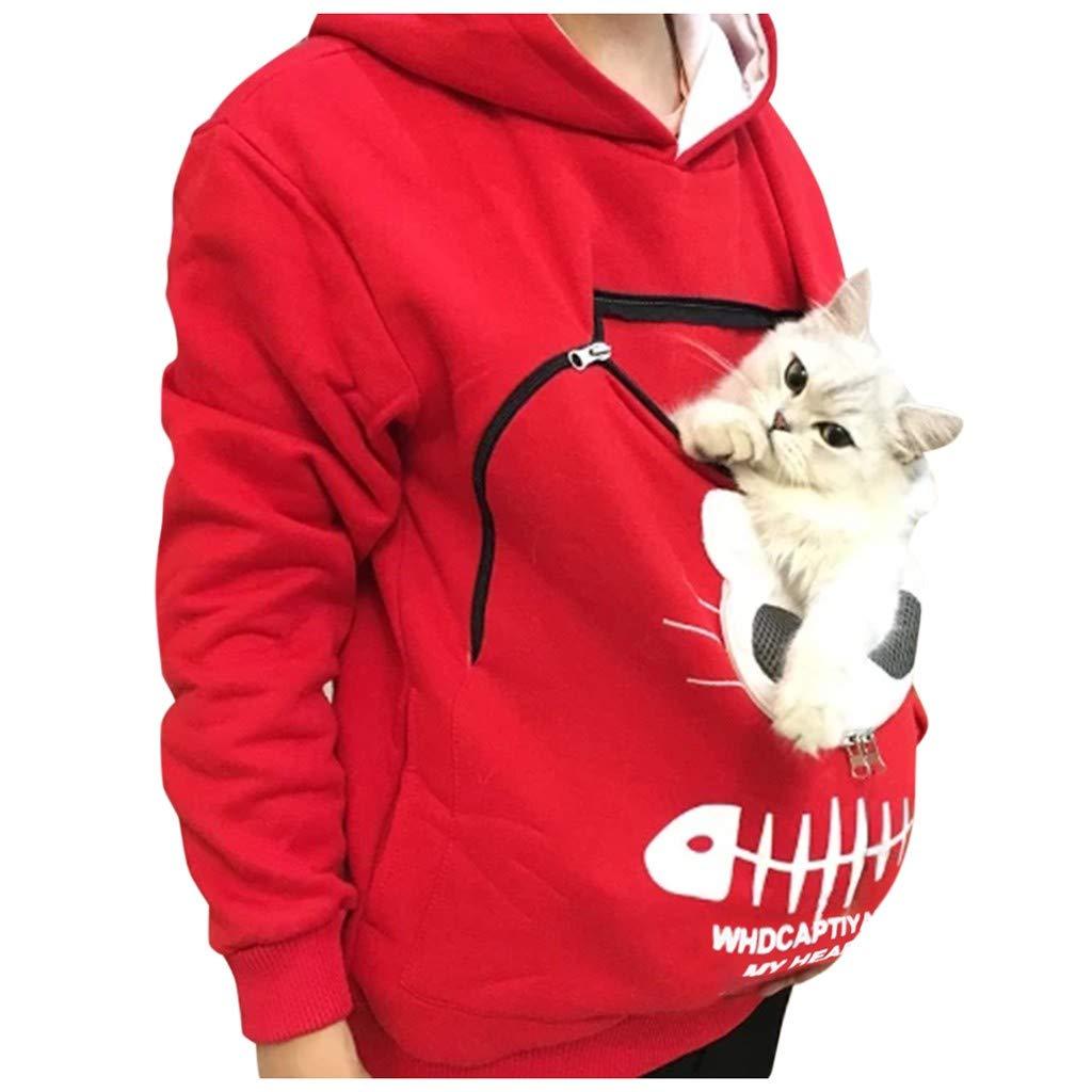 Donne Pet Pouch Hoodie Casual Traspirante Comfy Little Dog Cat Carrier Cuddle Felpa con Cappuccio Animal Kitten Puppy Holder Pullover Zipper Hoody con Super Morbido Tasca a Marsupio