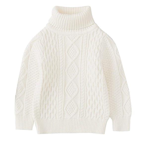 QinMM 1-6 años suéter Hecho Punto Cuello Alto del Invierno del bebé ...