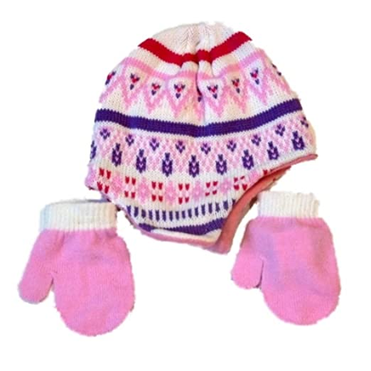 1921ddb2b4c Amazon.com  Infant Girls White   Pink Baby Beanie Hat   Mittens Set ...