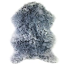 Faux Sheepskin Rug Deluxe Soft Carpet with Super Fluffy Thick Fur (Grey)