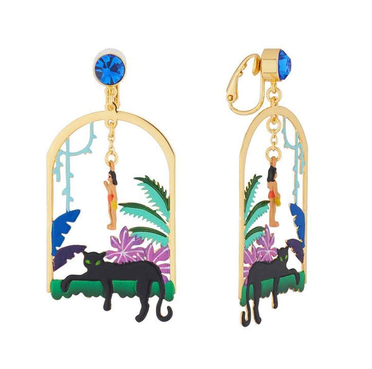 Libaraba Animal Leopard in Forest Stud Earrings with Heart Jewelry Box,Leopard Earrings for Women