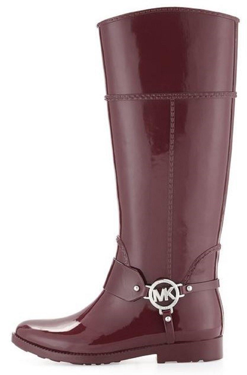 Michael Kors Womens Fulton Harness Tall Rainboot Closed Toe Mid-Calf Rainboots, Black, Size 10 by Michael Kors